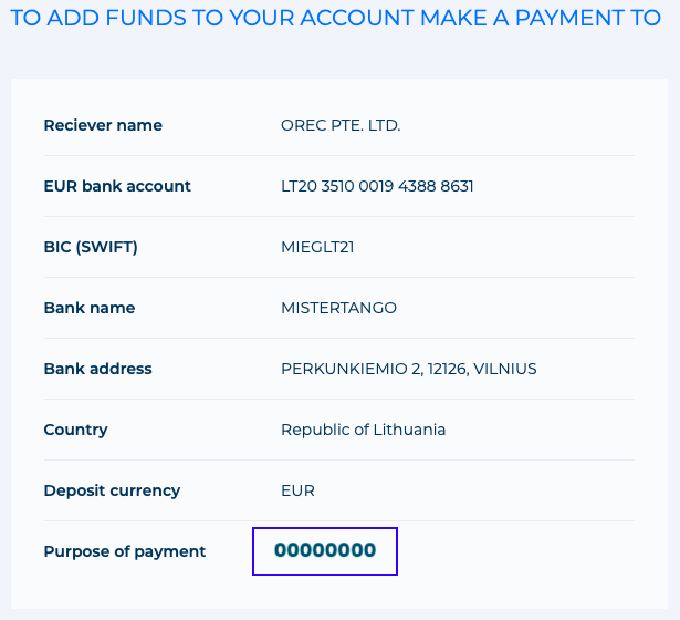 Example of EUR deposit account details